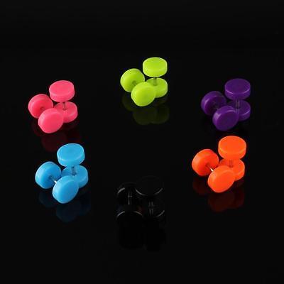 6 Pair Acrylic Fake Cheater Ear Stud Plug Earrings Piercing