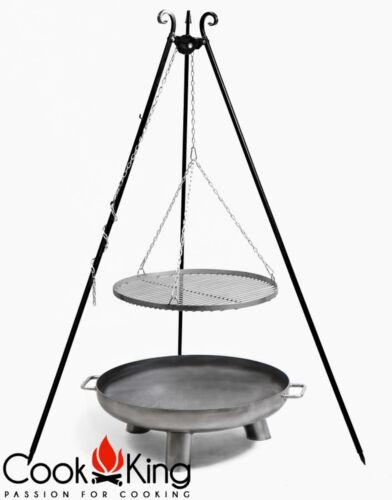 Schwenkgrill Cook King schwarz Grill-Rost Stahl Ø 50cm+Feuerschale Bali 60cm