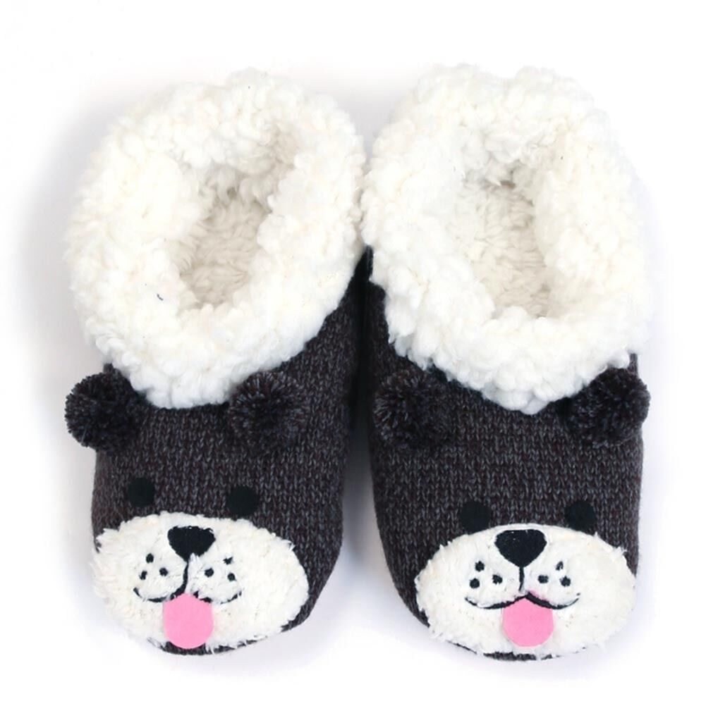 """NEW 7 LUXE Charcoal """"DOGGIE FACE"""" Slippers -SALE"""