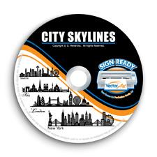 City Skylines Cityscape Clipart Vector Clip Art Vinyl Cutter Plotter Graphics Cd