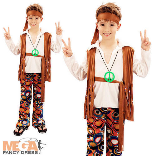 Hippy Boy Costume Groovy 1960s Hippie Child Kids 60s 70s Fancy Dress Outfit 4-10