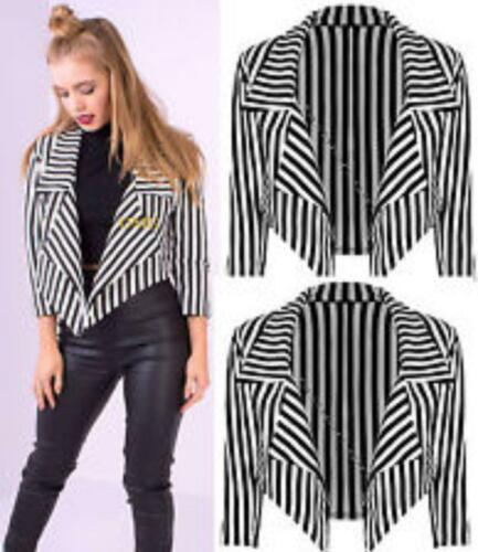 Ladies Women Black White Striped ¾ Sleeve Crop Length Waterfall Blazer UK 08-22