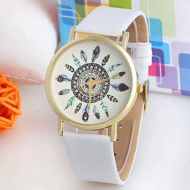Women Vintage Feather Analog Watches Dial Leather Band Quartz Unique Wrist Watch