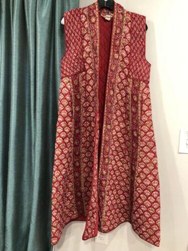Vintage 70s PHOOL Indian Vest Long Quilted Vest Fl