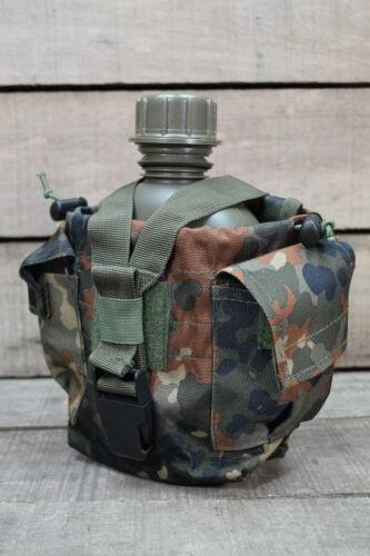 US Feldflasche Trinkflasche mit Edelstahl Becher Molle Tasche Flecktarn Gen.2