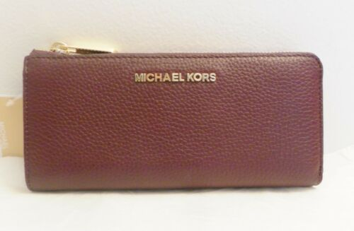 NWT Micahel Kors Bedford Large Three Quarter Zip Around Leather Wallet Plum