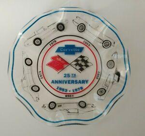 Vintage-RARE-1978-CORVETTE-25th-ANNIVERSARY-GLASS-ASHTRAY-BOWL-DISH-CHEVROLET