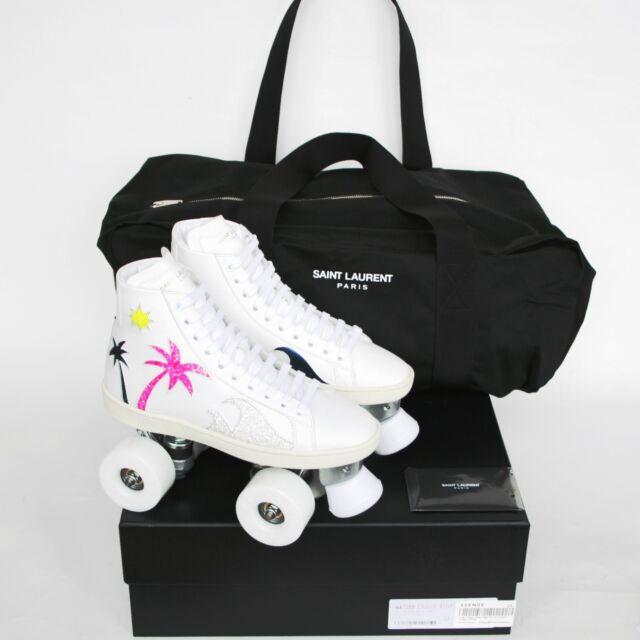 SAINT LAURENT palm tree roller skates leather hi top shoes rollerskates 36 NEW