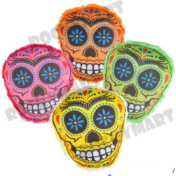 """(4 Piece Set) 8"""" Candy Skull Pillow (1 Of Each Color) Rm3301"""