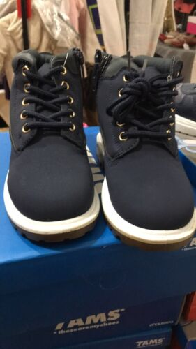boys navy Blue Casual Lace up Zip Walking Boots Size 11-2.5 10160650