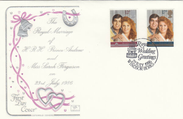 (10473) Gb Cotswold Fdc Mariage Royal Prince Andrew Windsor 22 Juillet 1986