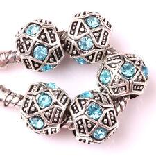 Fashion 5pcs Silver Czech big hole Beads Fit European Charm Bracelet DIY #A130
