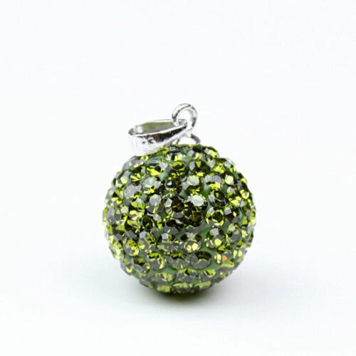 Czech Crystal Pave Charm Round Disco Ball 925 Silver Pendant Stud Earrings Women