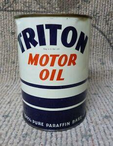 Vintage 1930's Triton 1 Qt. Motor Oil Can Full