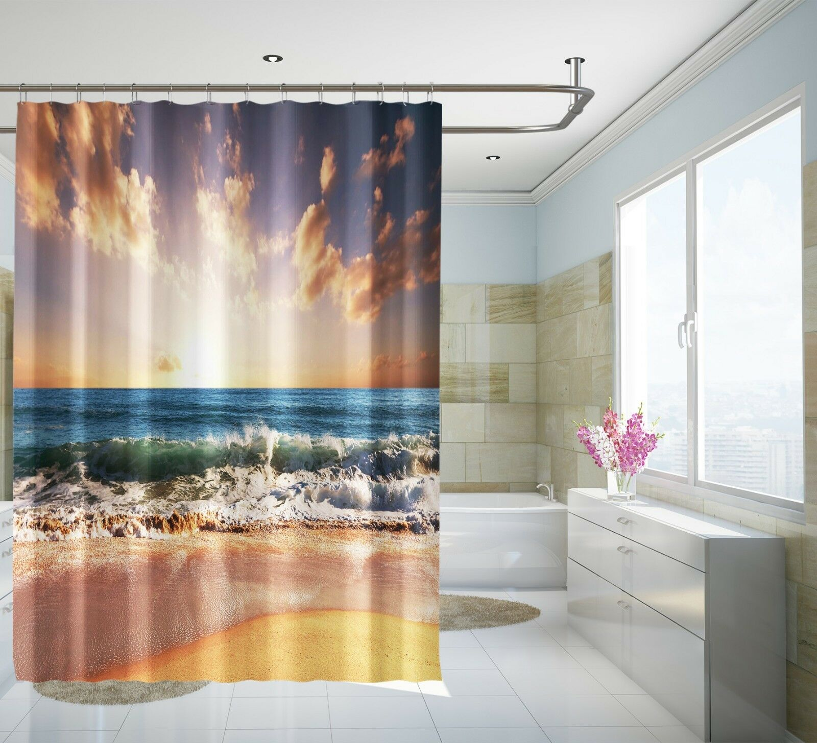 3D Dusk Sky Beach 80 Shower Curtain Waterproof Fiber Bathroom Windows Toilet