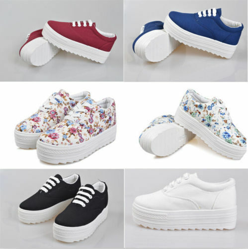 Hot Korean Women Girls Platform Lace Up Canvas Sneakers High Heel Comfort Shoes