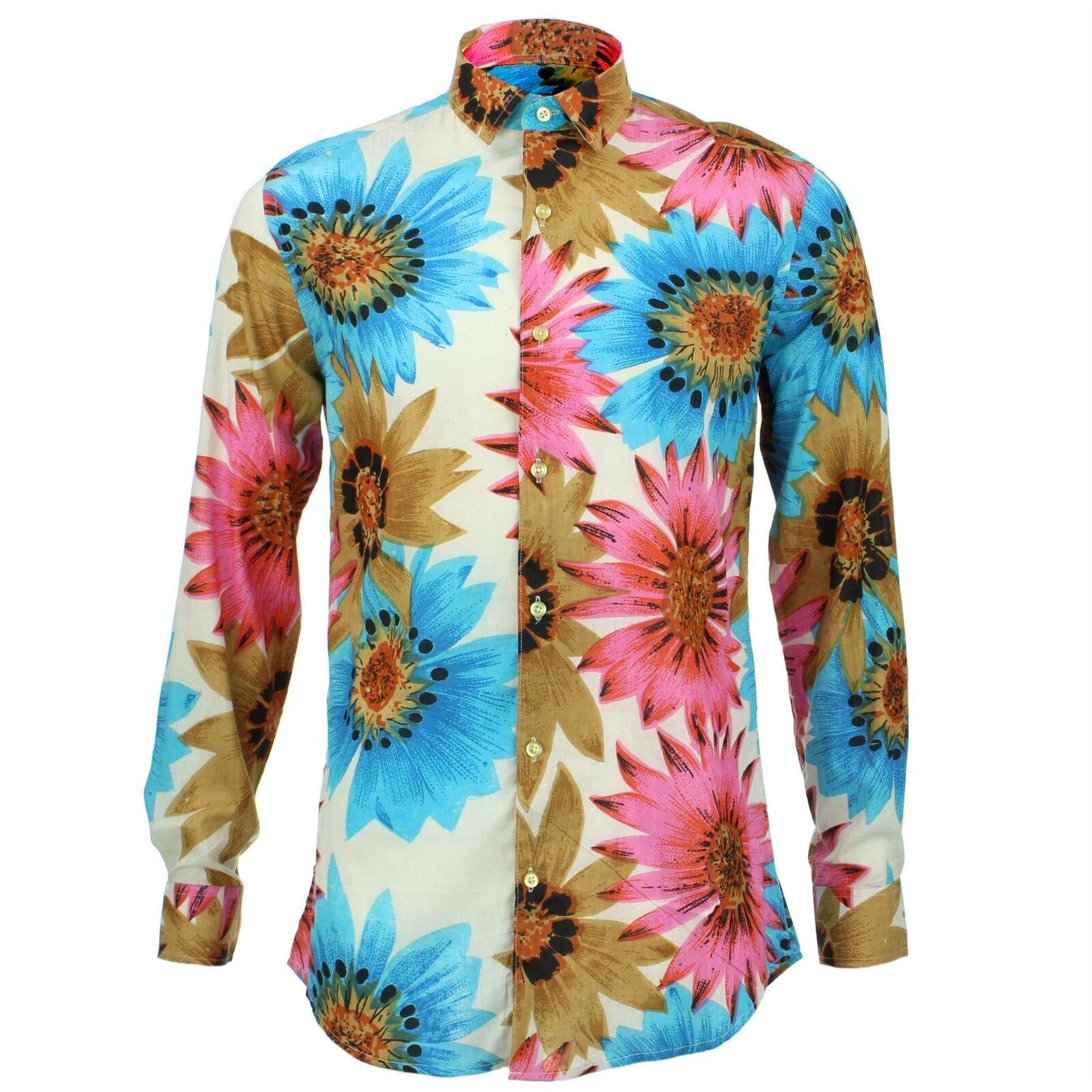 Camicia da uomo Loud ORIGINALS fatto su misura BLU FLOREALE rétro psichedelico