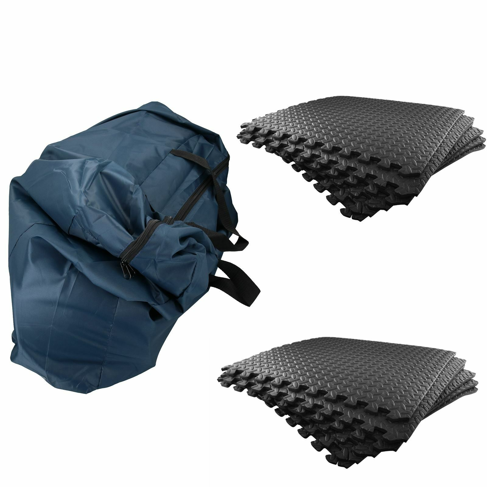 12pk 620mm Caravan Awning / Tent Foam Luxury Flooring Tiles & Storage Bag