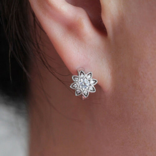Womens Crystal Snowflake Flower Silver Color Hollow Out Ear Stud Earrings N7