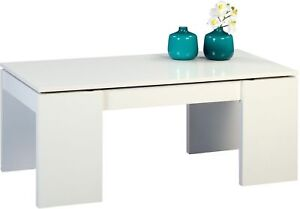 Couchtisch Beistelltisch Coco Tisch 100x50 Cm Weiss Hochklappbar