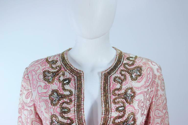 CEIL CHAPMAN 1960s Pink Paisley Brocade Gown with… - image 3