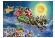 ADESIVO FINESTRA BABBO NATALE CON SLITTA WINDOW CHRISTMAS SANTA CLAUS STICKERS