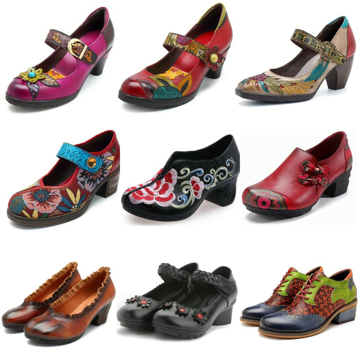 SOCOFY Retro Women Jacquard Splicing Leather Pumps shoes Bohemia Block Mary Janes