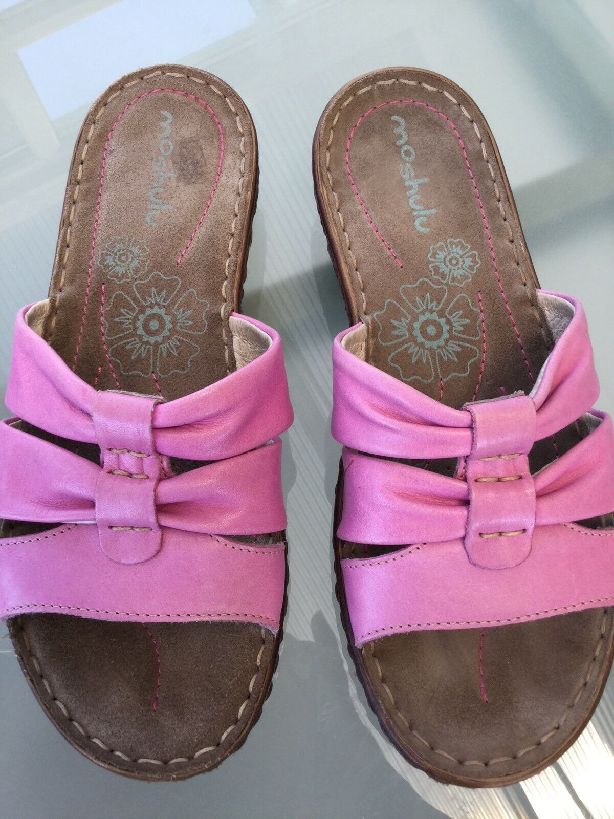 Moshulu Leather Shoes Pink Slip Ons Cushion Inner Sole Size 37