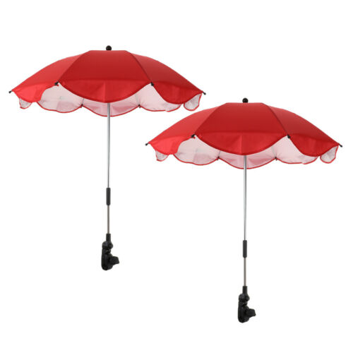 2x Summer Sunshade Umbrella Outdoor Beach Clamp-on Shelter Parasol Anti UV