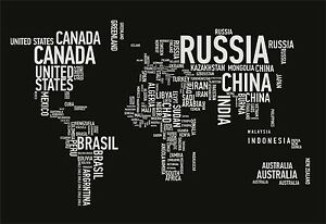 World Map Country Names Giant Poster A A A A A Sizes - World map pic with country name