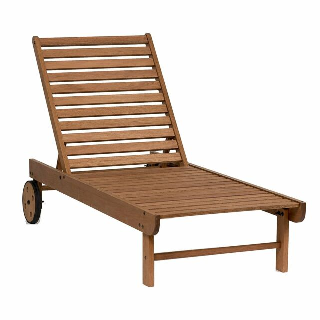 Wood Chaise Lounge Outdoor Wooden Pool Lounger Garden Patio Chair Deck Furniture