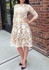 Wedding Beige Appliqué Cut out Crochet Lace Dress Sz XS S 2 38 Valentino stl