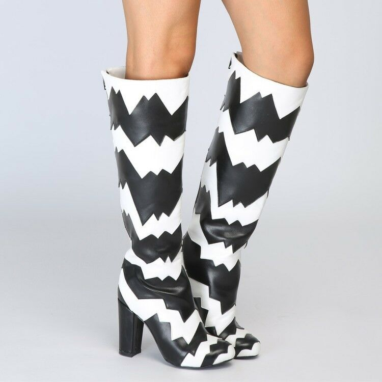Sexy Womens Fashion Black White Block High Heel Knee High Boots Party shoes R301