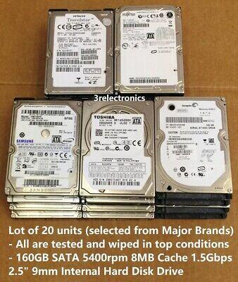 "Lot of 20 Name Brand 160 GB SATA 3.5/"" Desktop Hard Drives Tested Used 160GB"