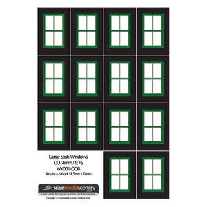 LARGE-GREEN-SASH-WINDOWS-FOR-OO-GAUGE-1-76-SCALE-MODEL-RAILWAY-WX001-OOB