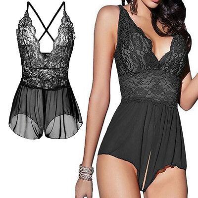 Women Sexy Lingerie Deep V Lace Dress Open crotch Underwear Babydoll Sleepwear