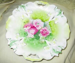RS Prussia Handled Shallow Serving Bowl 9 1/2 inches Porcelain