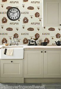 Image Is Loading COFFEE Themed Washable Kitchen Wallpaper In Browns Amp