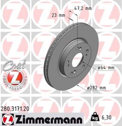 ZIMMERMANN Bremsscheiben Ø282mm Bremsbeläge vorne für Honda Civic 8 Hatchback