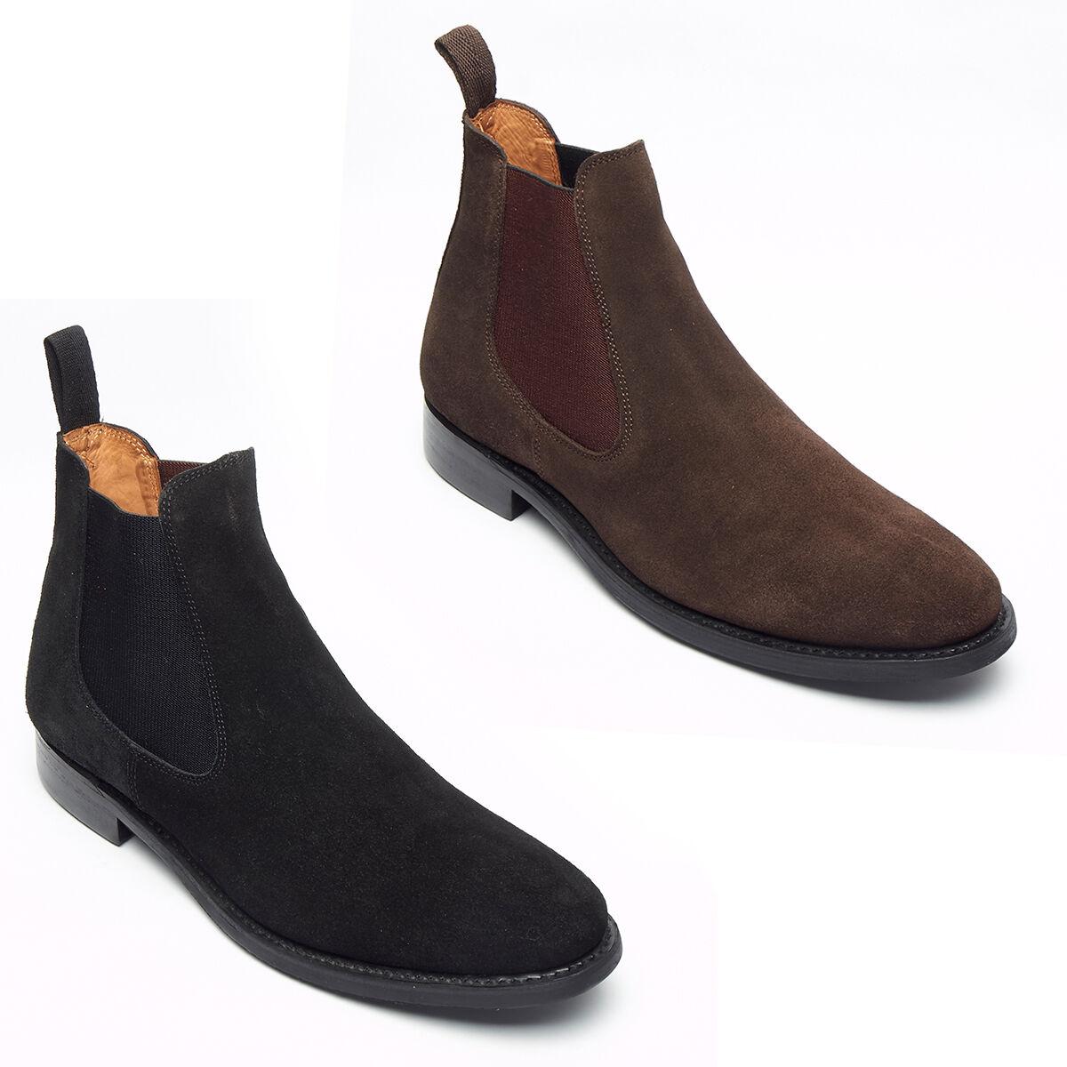 Para Hombre Goodyear welted suela de gamuza Chelsea botas al Tobillo Zapatos Trabajo Inteligente   formal