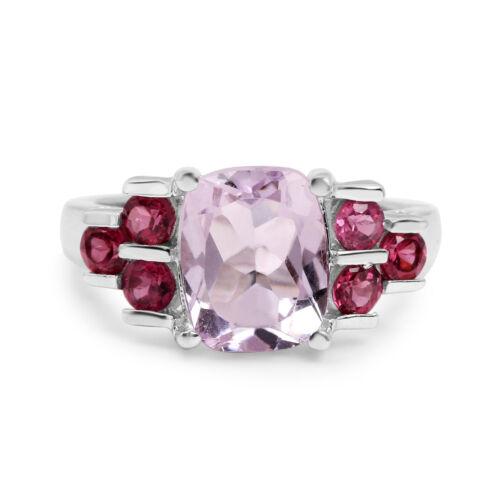 3.18 ct Genuine Pink Amethyst /& Rhodolite Wedding Ring in 925 Sterling Silver
