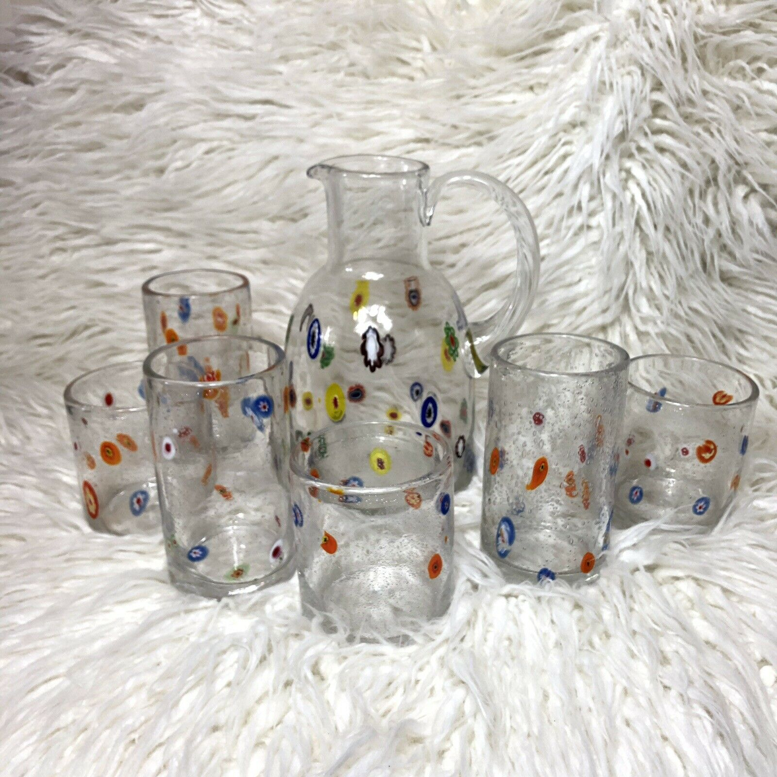 Vintage Hand Blown Mexican Confetti Glass Set 6 Cups Pitcher Floral Multicolor