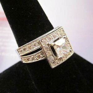 Baguette Square Paved 2 Ring Wedding Set CZ Silver Rhodium Plating 5,6,7,8,9