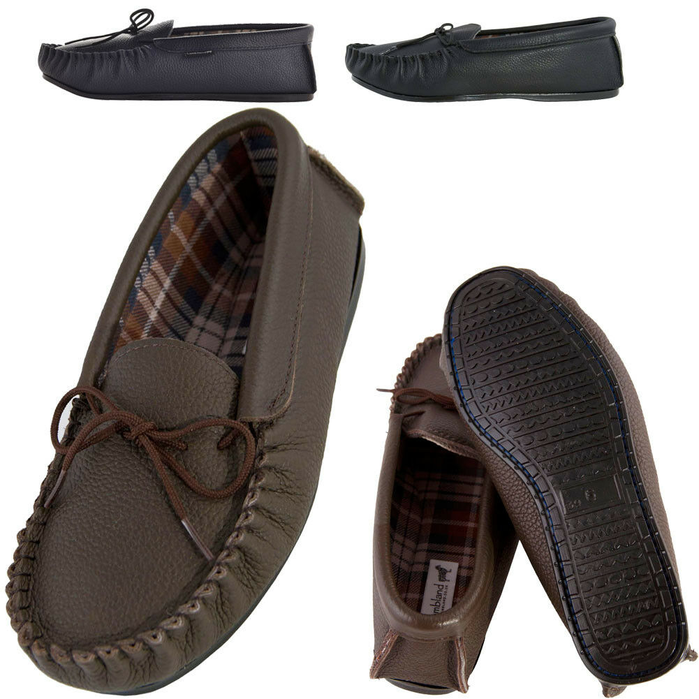 Mens Slipper Womens Genuine Grained Leather Moccasin Slipper Mens Fabric Cotton Hard Sole 61504f