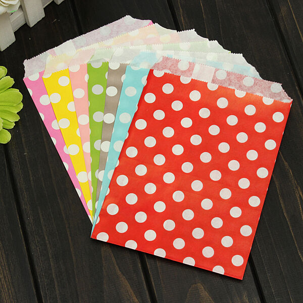 50X Popcorn Polka Dot Wedding Favour Buffet Food Cake Gift Paper Party Oil Bag