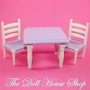 Fisher Price Loving Family Dollhouse White Purple Dining