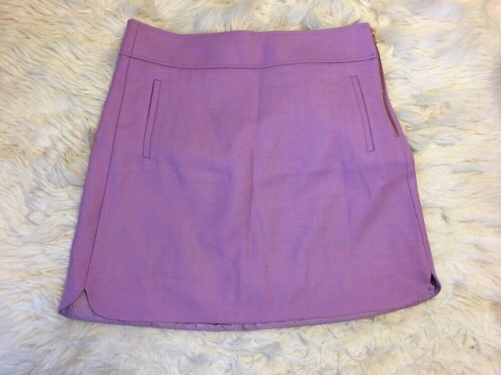 New J Crew  Tall Mini Skirt In Double-serge Wool  purplec Sz 14T F9300  98 SoldOut
