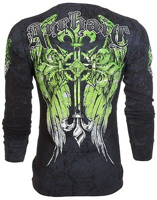 Archaic AFFLICTION Men THERMAL T-Shirt WRETCH Cross Tattoo Biker UFC M-3XL $58