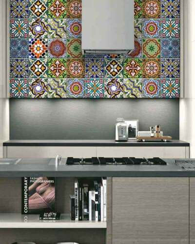 24 set wall Mural DIY tile Stickers decor backsplash Portuguese tiles Vinyl AB2