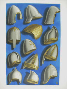 Equipment-Military-Helmet-Ixe-Xe-and-Xie-Siecl-Lith-Xixth-1858-Hangard-and-Mauge